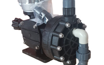 Mechanical diaphragm metering pump complete with safety valve